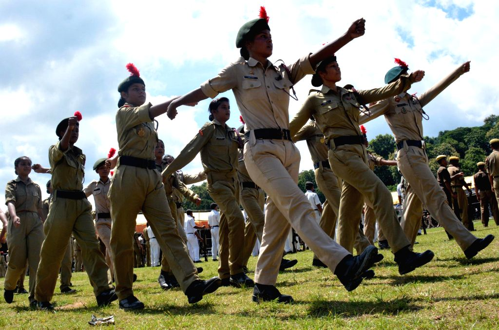 Scouts and Guides practicing parade at veterenary field where the Independence day will be celebrated in Guwahati on Aug. 9, 2014.