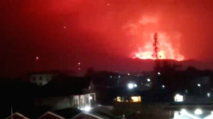 Screenshot of the on-the-spot video provided by Xinhua local correspondent, showing the erupting Mount Nyiragongo volcano, in Goma, the Democratic Republic of Congo (DRC).