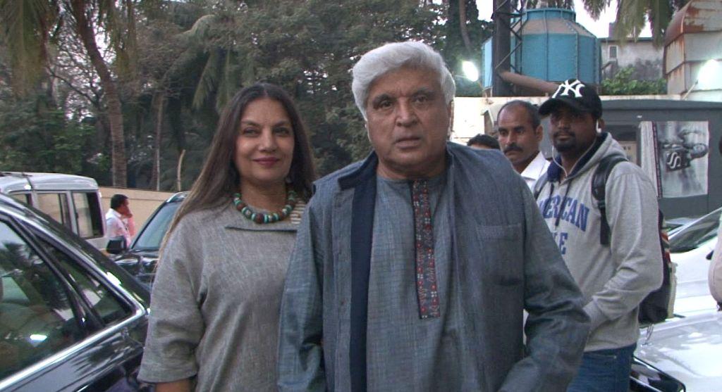 "Script writer Javed Akhtar and actress Shabana Azmi during the screening of film ""Kaabil"" in Mumbai, on Jan 23, 2017. - Shabana Azmi"