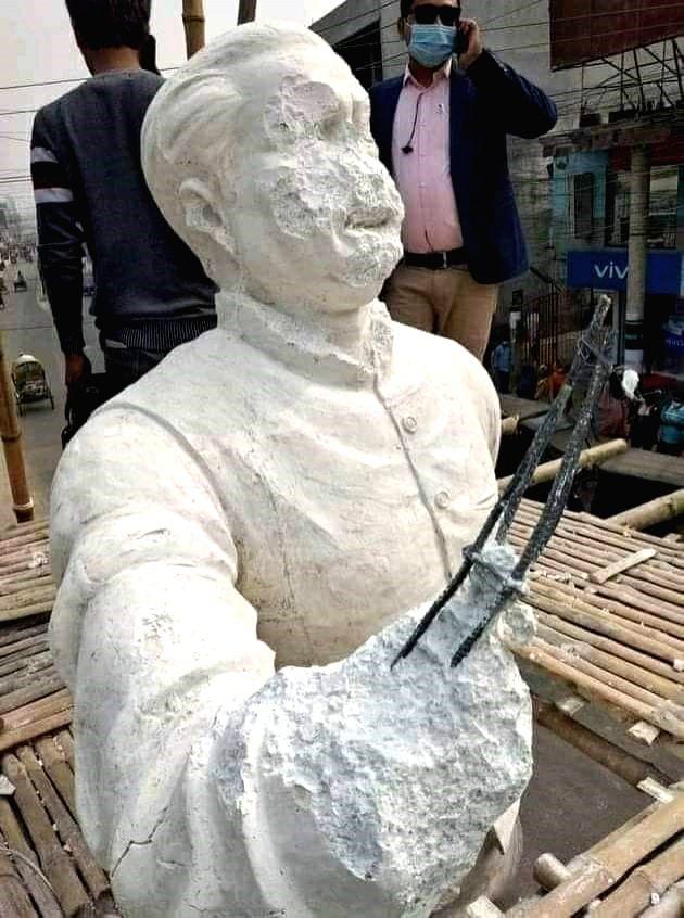 Sculpture of Bangabandhu Vandalized in Kushtia of B'desh.