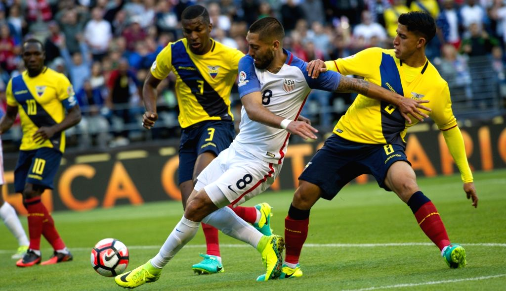 SEATTLE, June 17, 2016 - Clint Dempsey (2nd R) of the United States vies with Fernando Gaibor (1st R) of Ecuador during their quarterfinal of 2016 Copa America soccer tournament at Century Link Field ...
