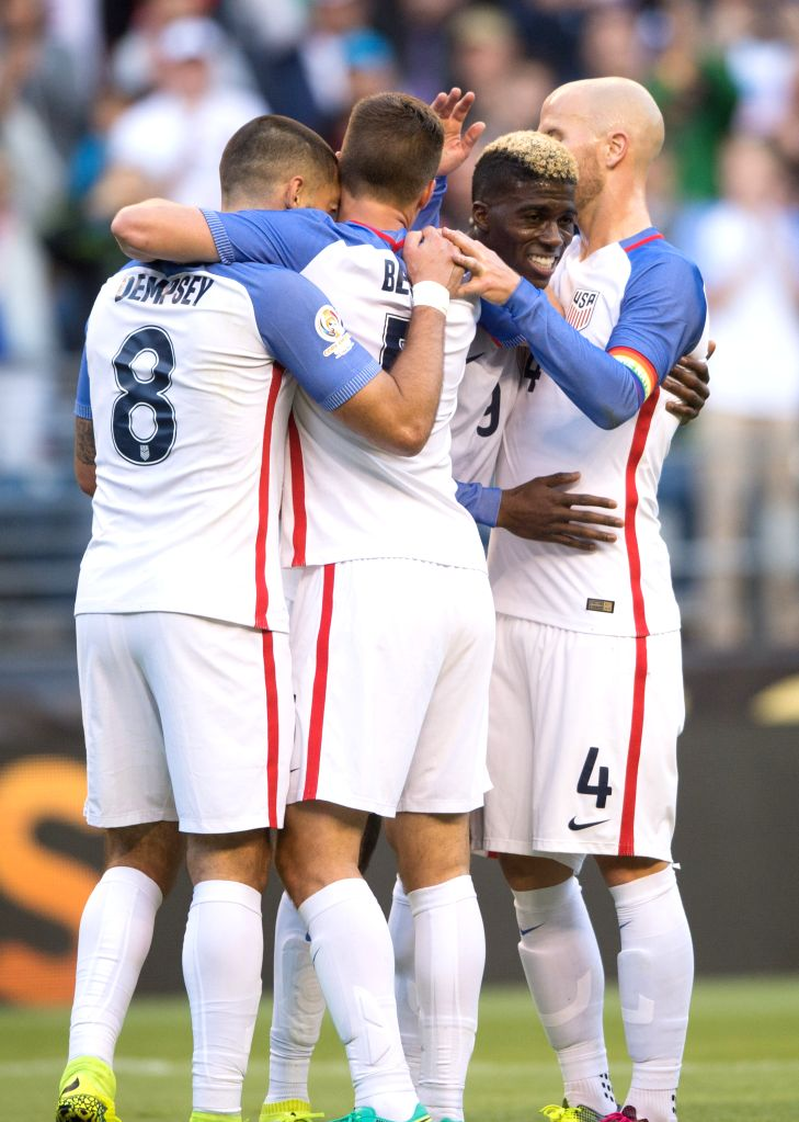 SEATTLE, June 17, 2016 - Gyasi Zardes (2nd R) of the United States celebrates scoring with his teammates Clint Dempsey (1st L), Matt Besler (2nd L) and Michael Bradley during the quarterfinal between ...