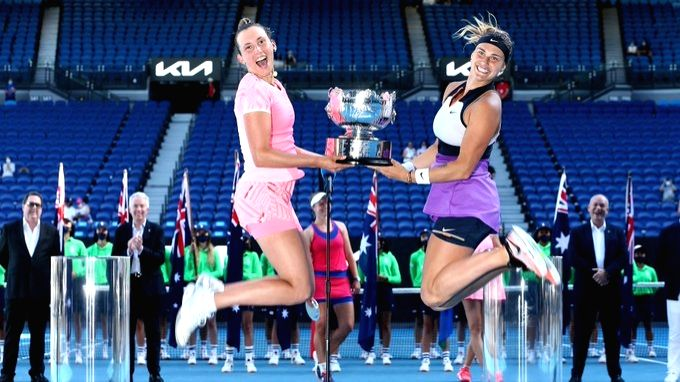Second-seeded pair Elise Mertens of Belgium and Aryna Sabalenka of Bulgaria beat Czech Republic's Barbora Krejcikova and Katerina Siniakova 6-2, 6-3 to win the women's doubles title of the Australian ...