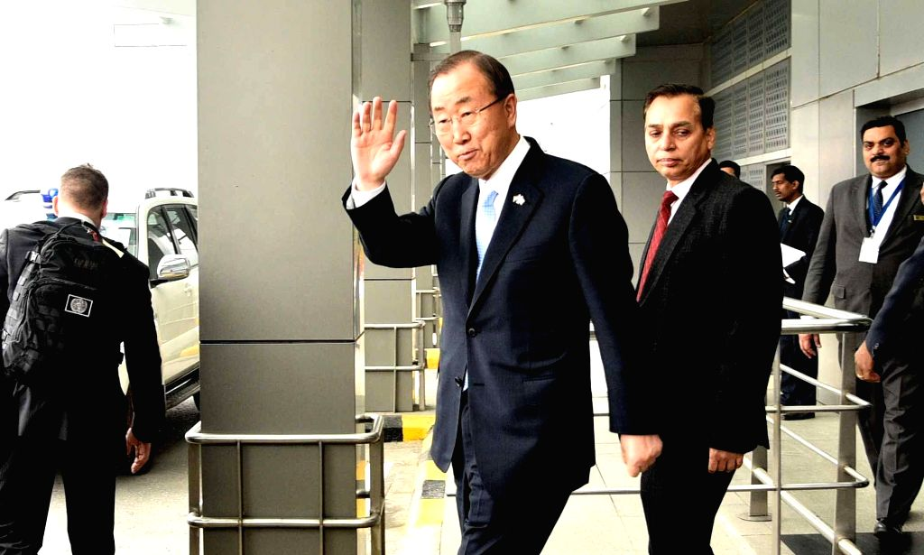 Secretary General of United Nations Ban Ki-Moon arrives at Indira Gandhi International Airport in New Delhi on Jan 12, 2015.