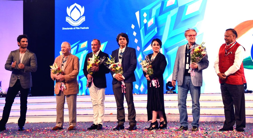 Secretary Ministry of Information & Broadcasting Ajay Mittal with the Jury members during the innauguration of 47th International Film Festival (IFFI) at Shyama Prasad Mukerji Stadium in ...
