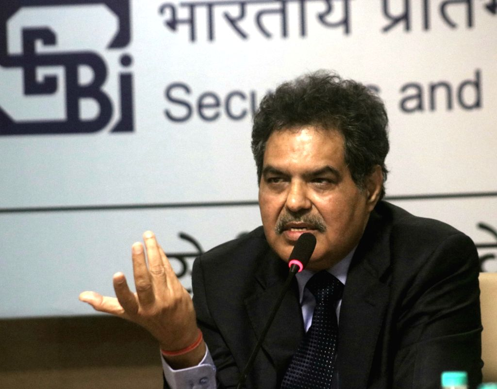 Securities and Exchange Board of India (SEBI) Chairman Ajit Tyagi addresses a press conference in New Delhi on Feb 10, 2018.