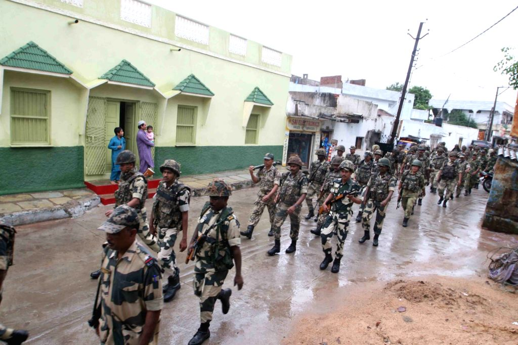 Security arrangement in old city of Hyderabad during the