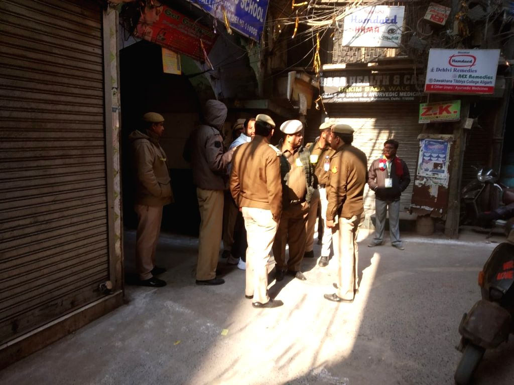 Security beef up in Delhi's Ballimaran Assembly constituency during Delhi Assembly elections 2020, on Feb 8, 2020.