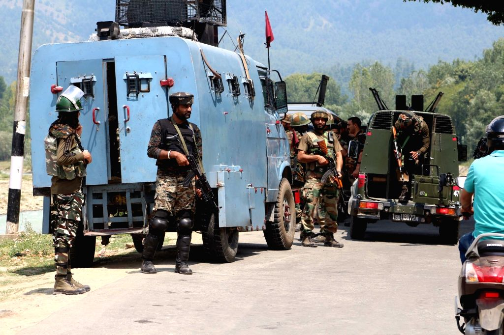 Security beefed up after militants fired at a CRPF party in Bamzoo village while they were patrolling on the Anantnag-Pahalgam road on July 21, 2018.