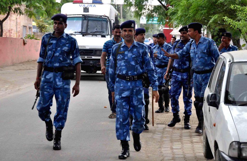 Security beefed up ahead of of the Aug 25 verdict of the CBI court in the rape case against Dera Sacha Sauda chief Gurmeet Ram Rahim Singh in Bathinda, Punjab on Aug 21, 2017.