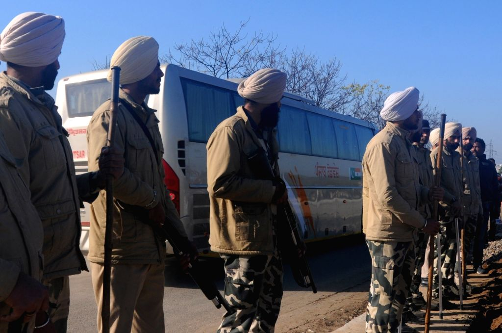 Security beefed up along the route taken by buses plying to and from Pakistan, in Amritsar on Feb 22, 2019.