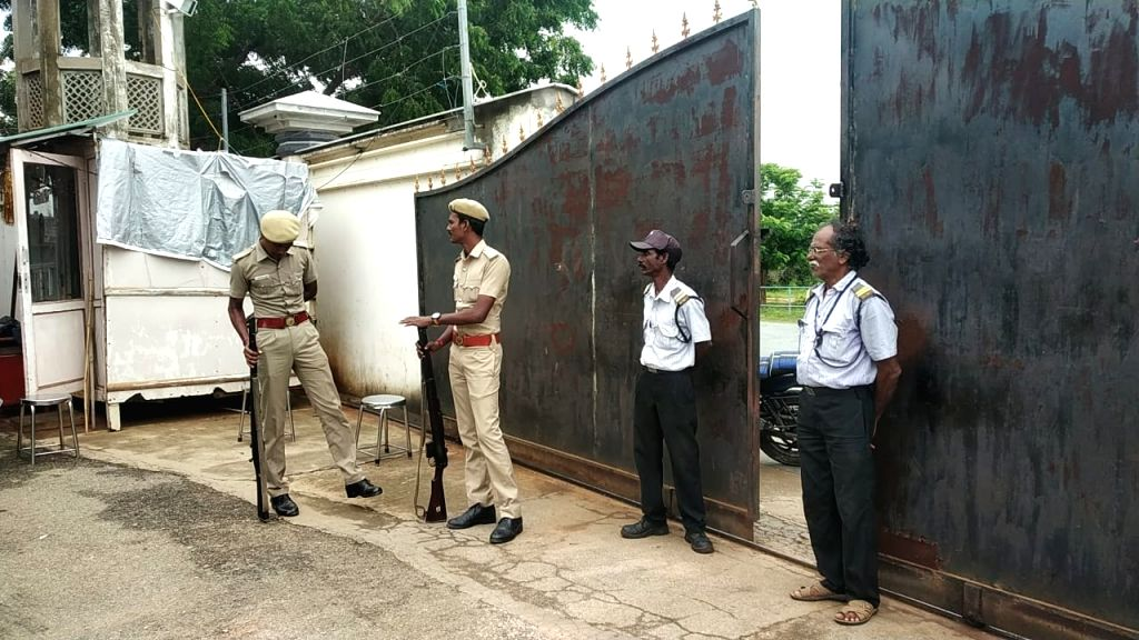 Security beefed up at a Kalki Ashramam where IT sleuths have launched raids, in Chittoor district of Andhra Pradesh on Oct 16, 2019.