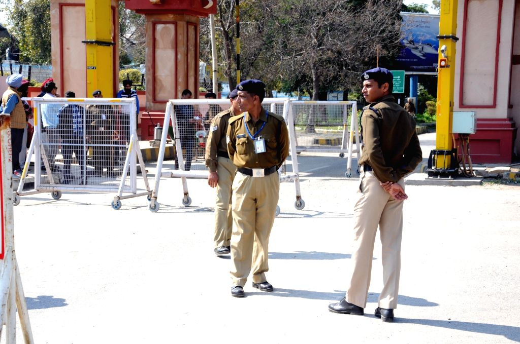Security beefed up at Amritsar airport on Feb 27, 2019. Earlier in the day, several airports - including Srinagar, Jammu, Leh, Amritsar and Chandigarh - across north India were closed for commercial operations as the facilities there were being used