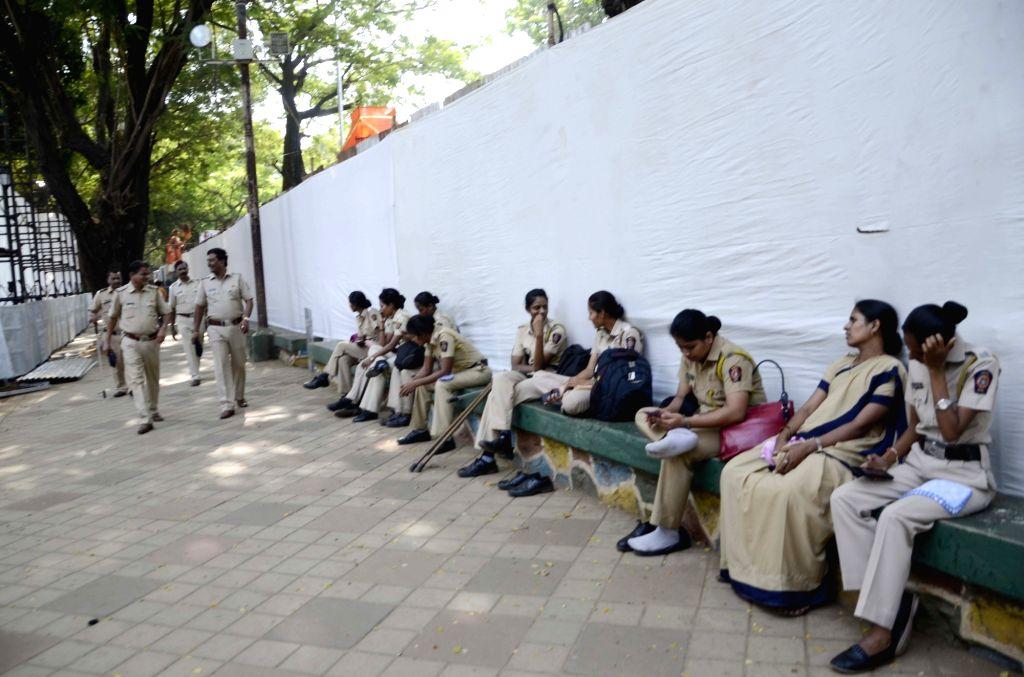 Security beefed-up at Balasaheb Thackeray memorial in Shivaji Park of Mumbai ahead of his death anniversary, on Nov. 16, 2015.