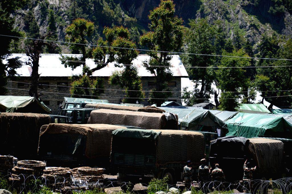 Security beefed up at Chandanwari-Pahalgam base camp ahead of Amarnath Yatra in Jammu and Kashmir's Anantnag district.