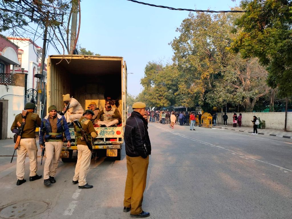 Security beefed up at Civil Lines during Delhi Assembly elections 2020, on Feb 8, 2020.