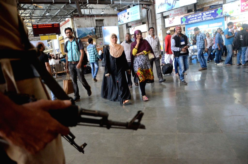 Security beefed up at CST Railway Station on 8th anniversary of 26/11 Mumbai terror attacks in Mumbai on Nov 26, 2016.