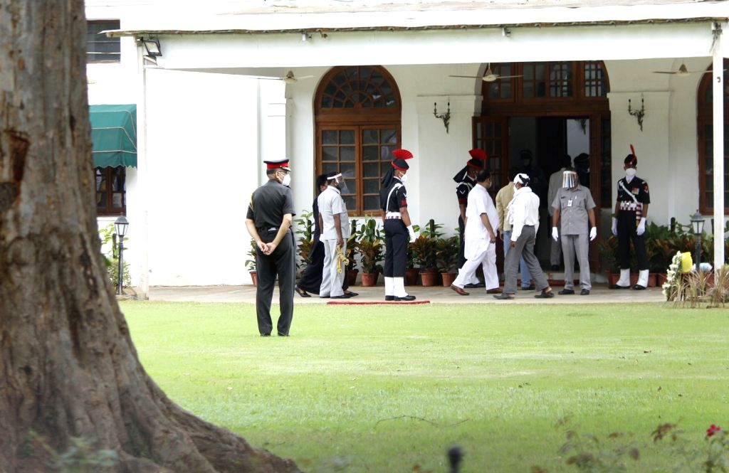 Security beefed up at Former President Pranab Mukherjee's 10 Rajaji Marg residence ahead of his funeral in New Delhi on Sep 1, 2020. Mukherjee passed away on Monday evening at Army's ... - Pranab Mukherjee