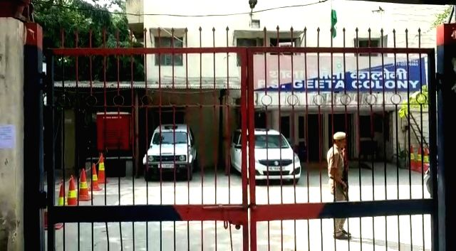 Security beefed up at Geeta Colony police station after threats, in New Delhi on Oct 18, 2019.