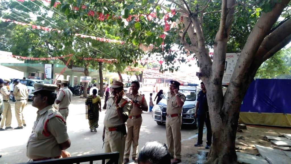 Security beefed up at Government District Hospital in Mahabubnagar district where the post-mortem of the four Hyderabad gang rape-murder accused was carried out, ahead of the arrival of ...