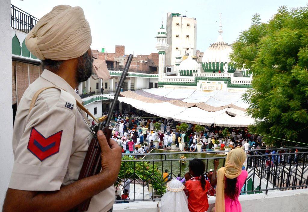 Security beefed up at Jama Masjid Khairuddin on in Amritsar on Aug 12, 2019.