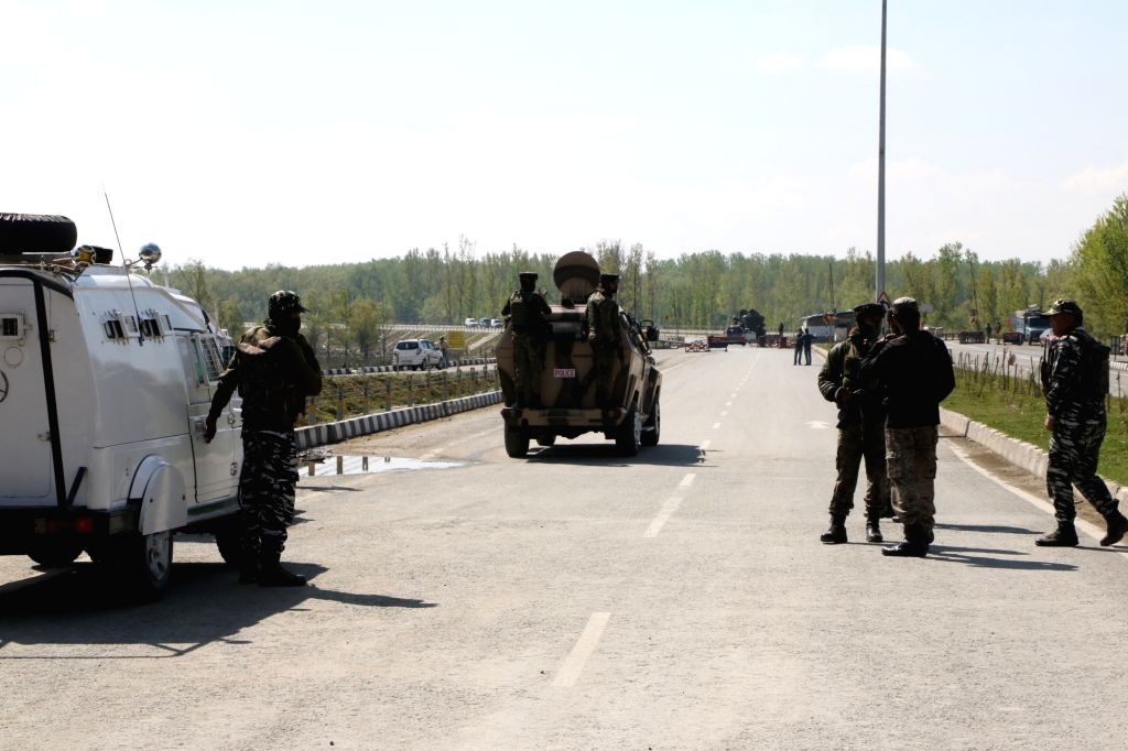 Security beefed up at Jammu and Kashmir National Highway (NH 44) after Jammu and Kashmir government had announced that no civilian traffic will be allowed on the Jammu-Srinagar highway on ...