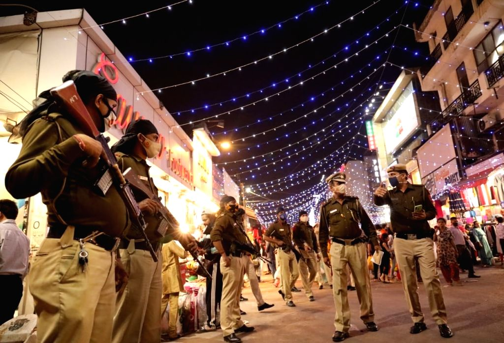 Security beefed up at Lajpat Nagar market on the eve of Diwali, in New Delhi on Nov 13, 2020.
