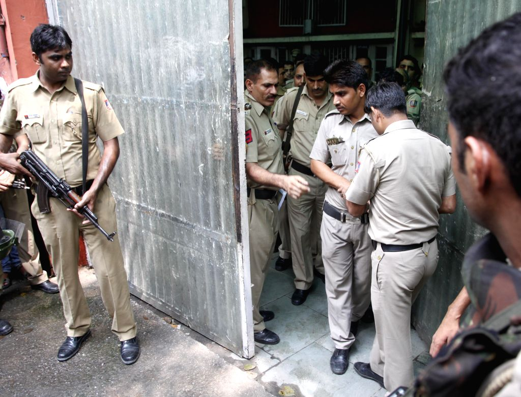 Security beefed up at Patiala House Court of New Delhi, where Udhampur terror attack accused Muhammad Naveed alias Usman was presented on Aug 17, 2015.