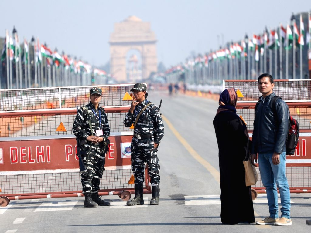 Security beefed up at Rajpath on the eve of Republic Day celebrations, in New Delhi on Jan 25, 2020.