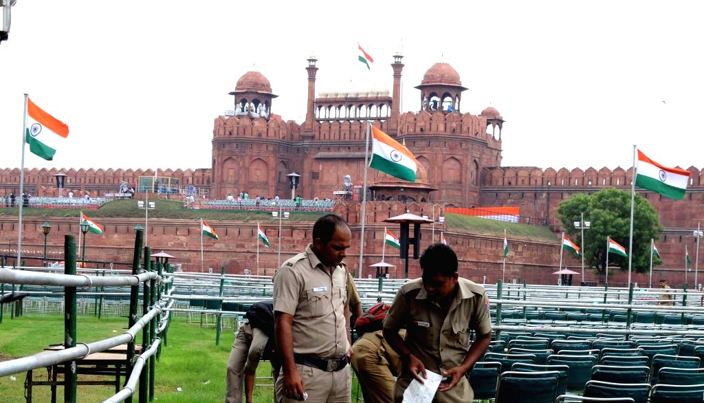 Security beefed-up at Red Fort on the eve of Independence Day in New Delhi on Aug 14, 2016.