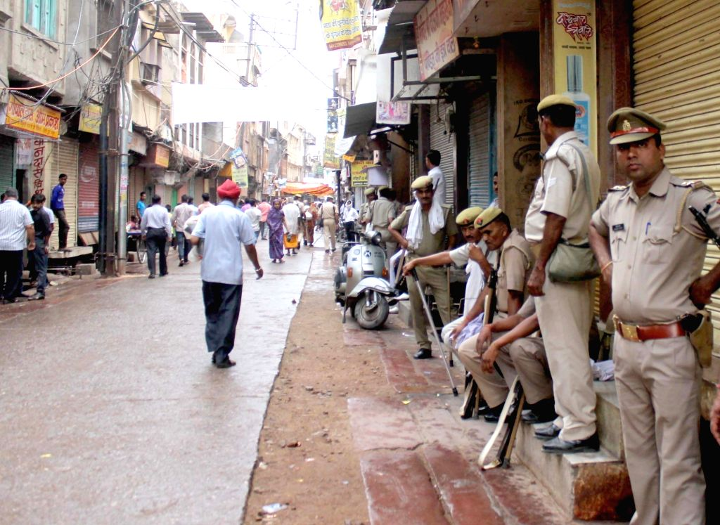 Security beefed up at Sarafa Bazar of Mathura during a shutdown called by jewellers to protest against murder of two bullion traders on 15th May, on May  17, 2017.