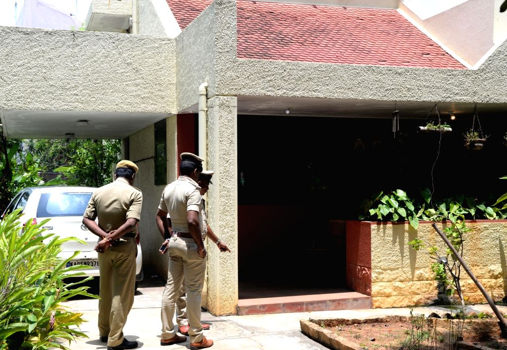 "Security beefed up at senior Kannada journalist and social activist Gauri Lankesh's residence in Bengaluru on Sept 6, 2017. Editor of the weekly Kannada tabloid ""Lankesh ..."