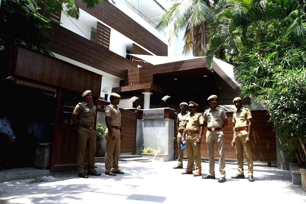 Security beefed up at superstar Rajinikanth's residence amid protests by a fringe group over indications the veteran actor could make his political debut in Chennai on May 22, 2017.