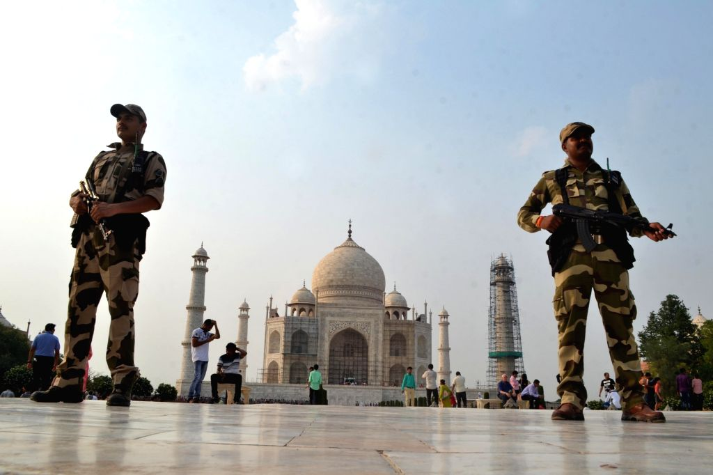 Security beefed up at Taj Mahal ahead of Eid in Agra on June 25, 2017.