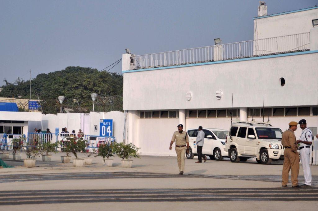 Security beefed up at the Netaji Subhash Chandra Bose International Airport ahead of Prime Minister Narendra Modi's arrival, in Kolkata on Jan 11, 2020. - Narendra Modi