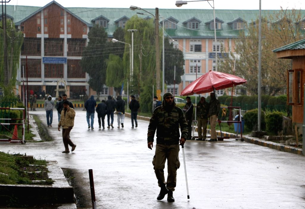 Security beefed-up at the Srinagar campus of National Institute of Technology where clashes broke out between a section of students and police on April 6, 2016.