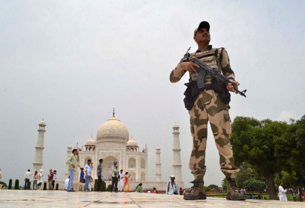 Security beefed up at the Taj Mahal ahead of Independence Day in Agra, on Aug 10, 2017.