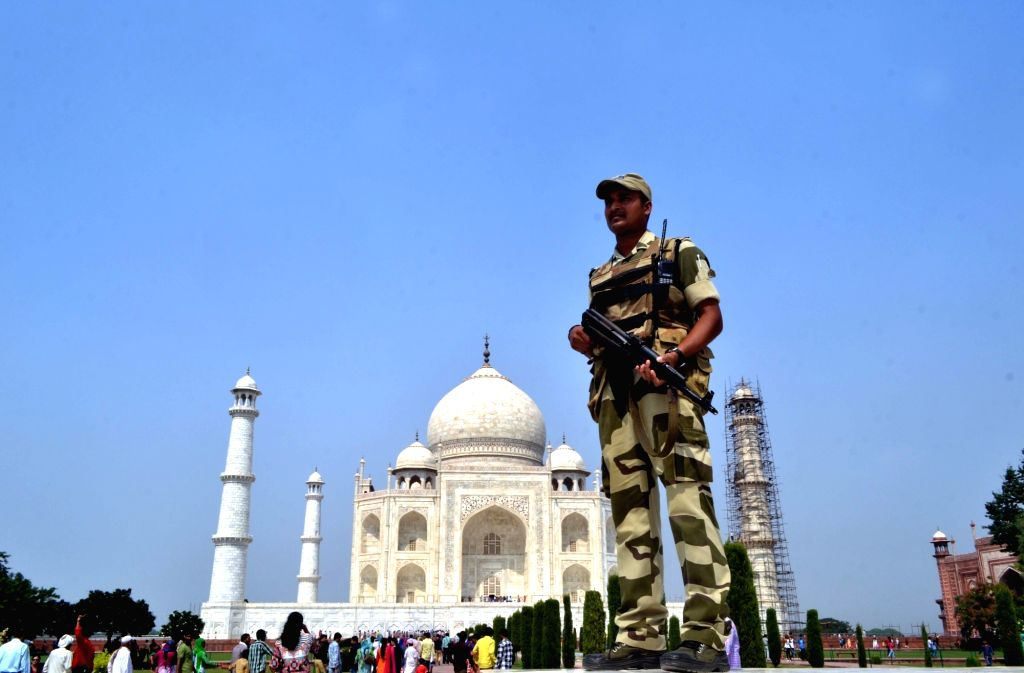 Security beefed-up at the Taj Mahal in Agra, on Oct 8, 2016.