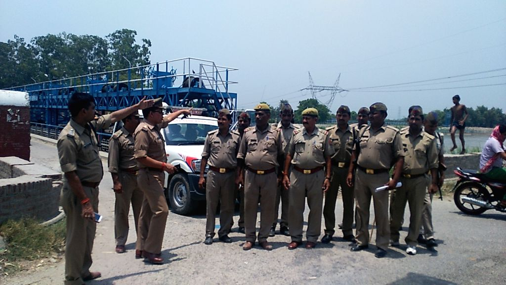 Security beefed-up at Upper Ganga Canal in Muradnagar, Ghaziabad in the wake of Jat stir on June 5, 2016.