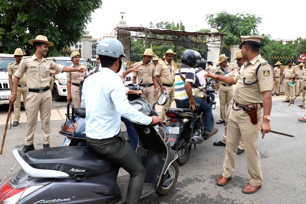Security beefed up at Vidhan Soudha in Bengaluru on July 18, 2019.