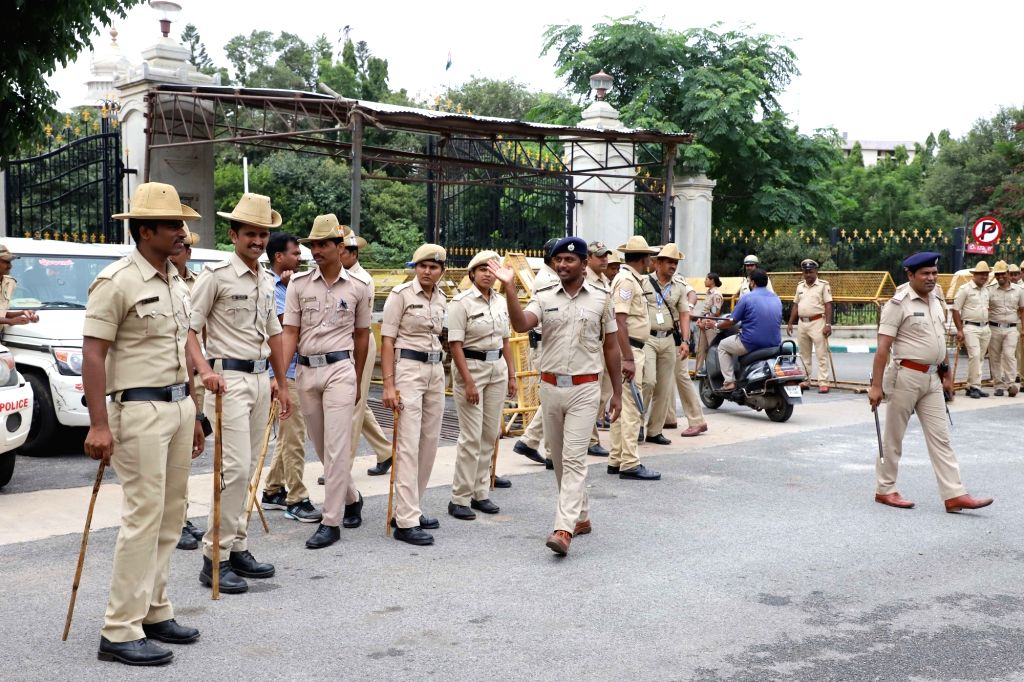 Security beefed up at Vidhan Soudha in Bengaluru on July 18, 2019.