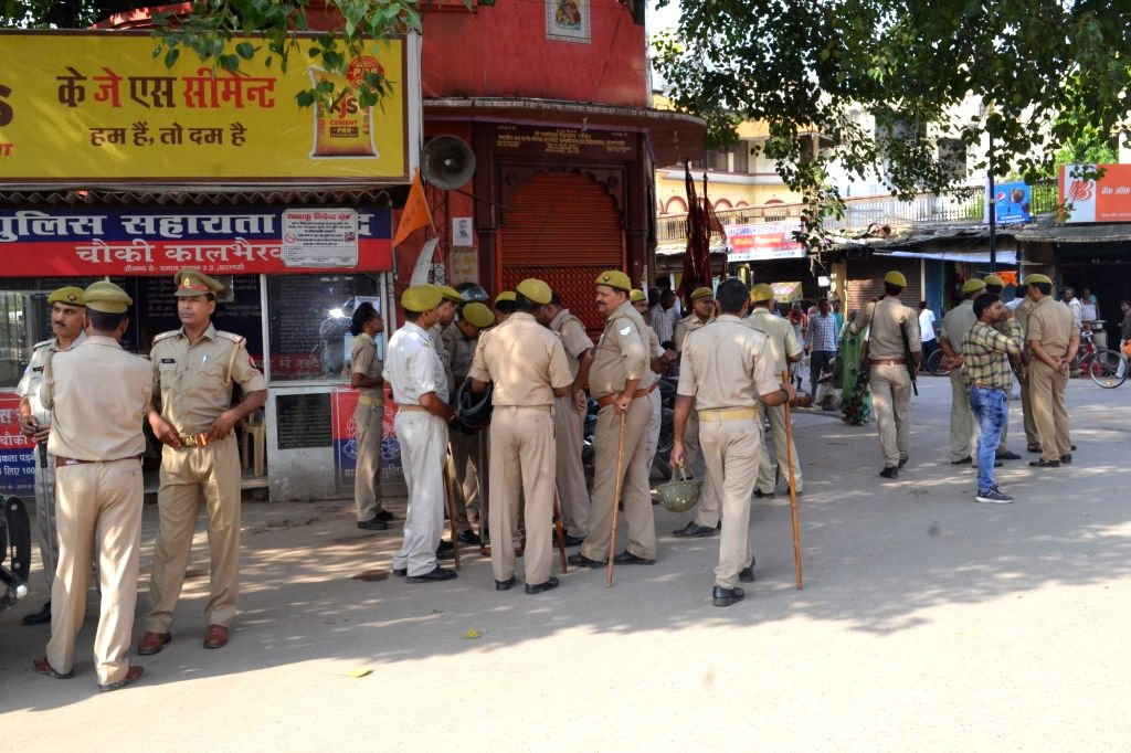 Security beefed up during a day-long Bharat Bandh or nationwide shutdown called by the Congress and Left parties to protest against rising fuel prices in Varanasi on Sept 10, 2018.