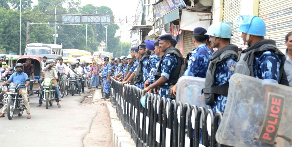 Security beefed up during a day-long Bharat Bandh or nationwide shutdown called by the Congress and Left parties to protest against rising fuel prices in Lucknow on Sept 10, 2018.