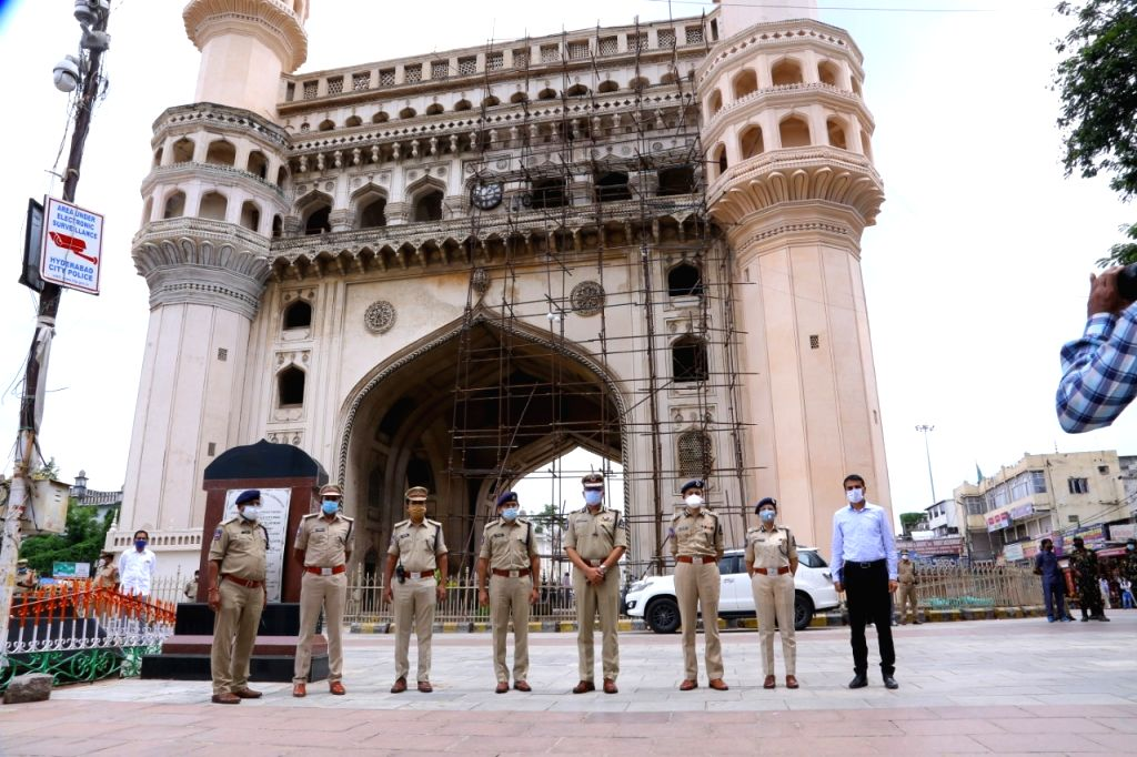 Security beefed up during Eid-Ul-Zuha celebrations in Hyderabad on Aug 1, 2020.