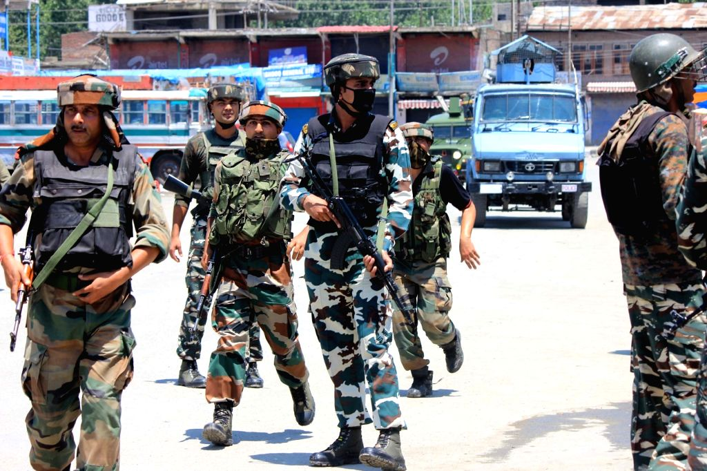 Security beefed up in Anantnag after militants attacked a policeman near Anantnag bus stand on July 2, 2017.