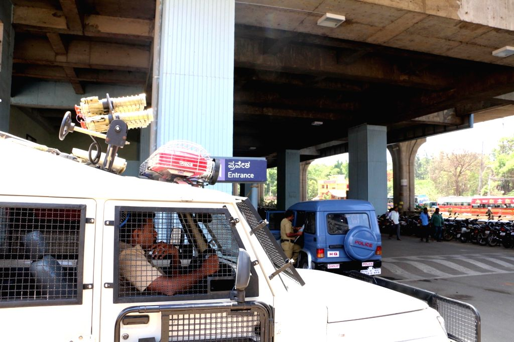 Security beefed up in Bengaluru a day after an irate mob torched public busses  on April 20, 2016.