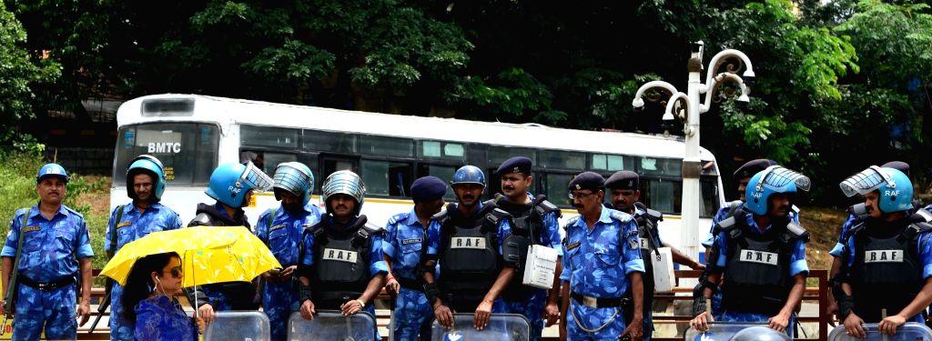 Security beefed-up in Bengaluru in the wake of Cauvery water dispute between Karnataka and Tamil Nadu in on Sept 27, 2016.