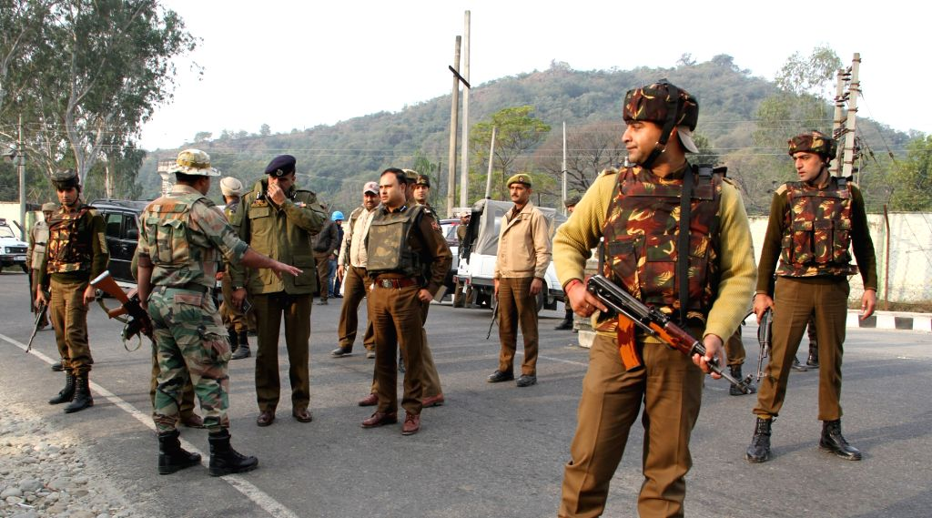 Security beefed-up in Jammu after heavily armed suicide attackers stormed into an army camp in Nagrota, some 20 km from Jammu on Nov 29, 2016. Two militants were killed and three soldiers ...