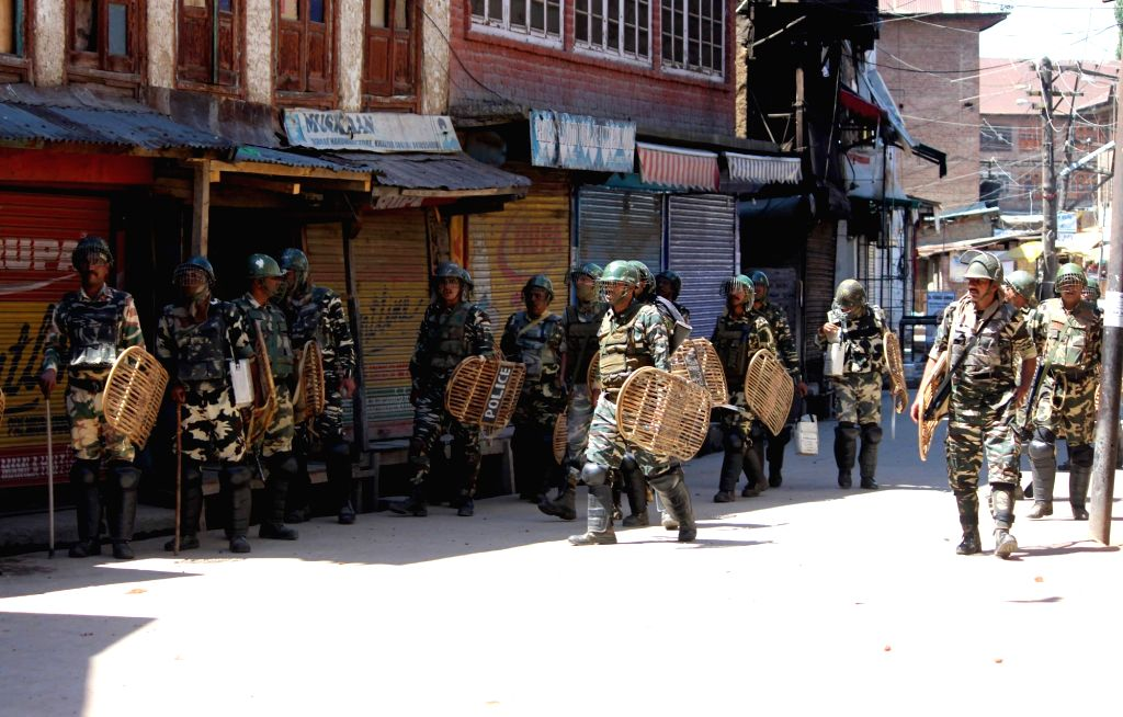 Security beefed up in  Reshi Bazar of Anantnag where protesters clashed with security personnel on June 23, 2017.
