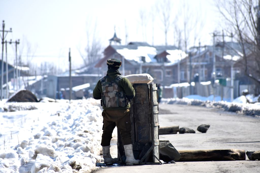 Security beefed up in Sopore town of Jammu and Kashmir as separatist-called shutdown to mark the sixth death anniversary of Parliament-attack mastermind Afzal Guru, on Feb 9, 2019. Afzal Guru ...